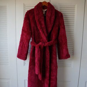 Vintage Thick Plush Furry Red Robe Floor Length S